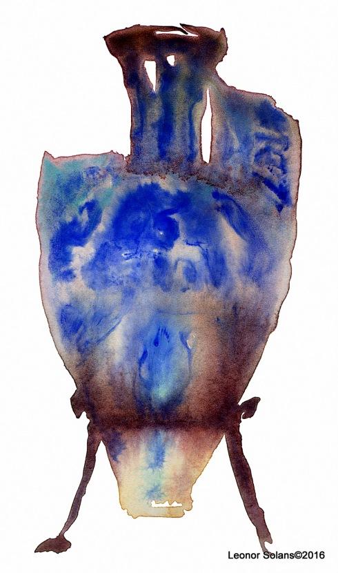 1-Jarra de las Gacelas s. XIV Granada (acuarela sobre papel, 30 x 22 cm)